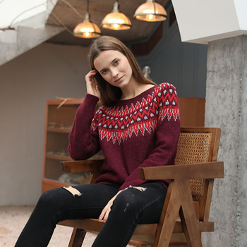 2020 winter popular ladies long sleeve knitted intarsia christmas pullover