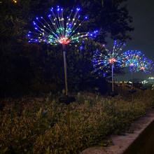 Солнечный светильник для фейерверков, Рождественский Сказочный светильник, гирлянда, подвесной светодиодный светильник Starburst, наружный во...(Китай)