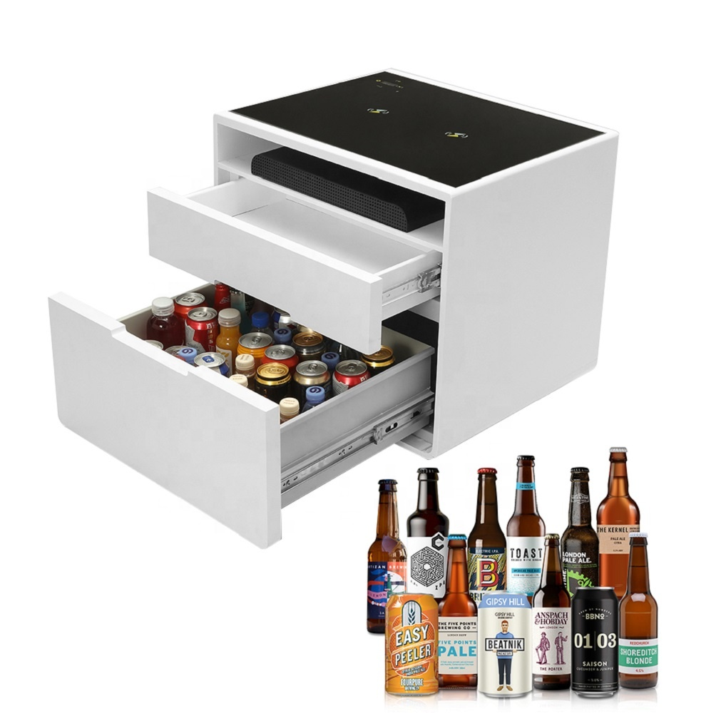 White Mirror Nordic Mini Smart 2 Side Drawer Cabinets Refrigerated Drinks Home Bedside Wine Storage Bar Cabinet for Living Room