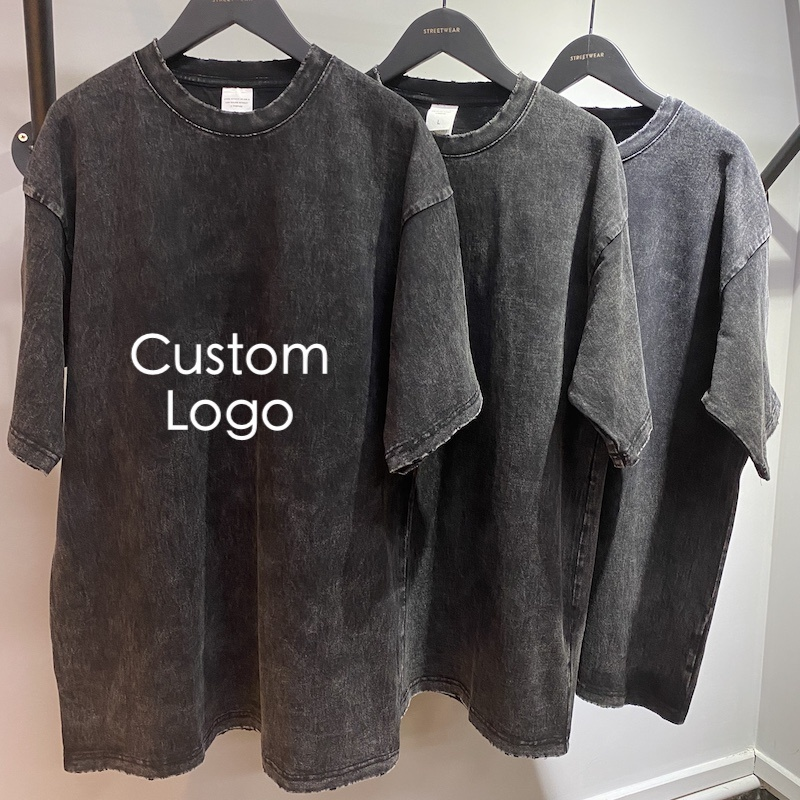 Summer Custom Embroidered Printing Logo Graphic T Shirts Acid Wash t-shirt Distressed Tshirts Logo