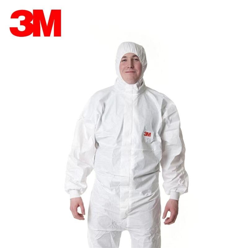 3 M 4545 CE0120 white protective jumpsuit gown with hood