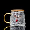 WWooden lid tea cup-red bead pendant