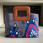 2021 New design beautiful African printed wax cloth square clutch bag