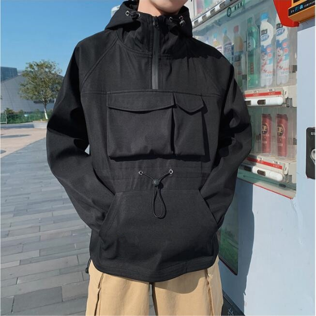 Новинка от оригинального производителя, 100% нейлоновая Мужская Повседневная ветровка с капюшоном, на молнии, с несколькими карманами
