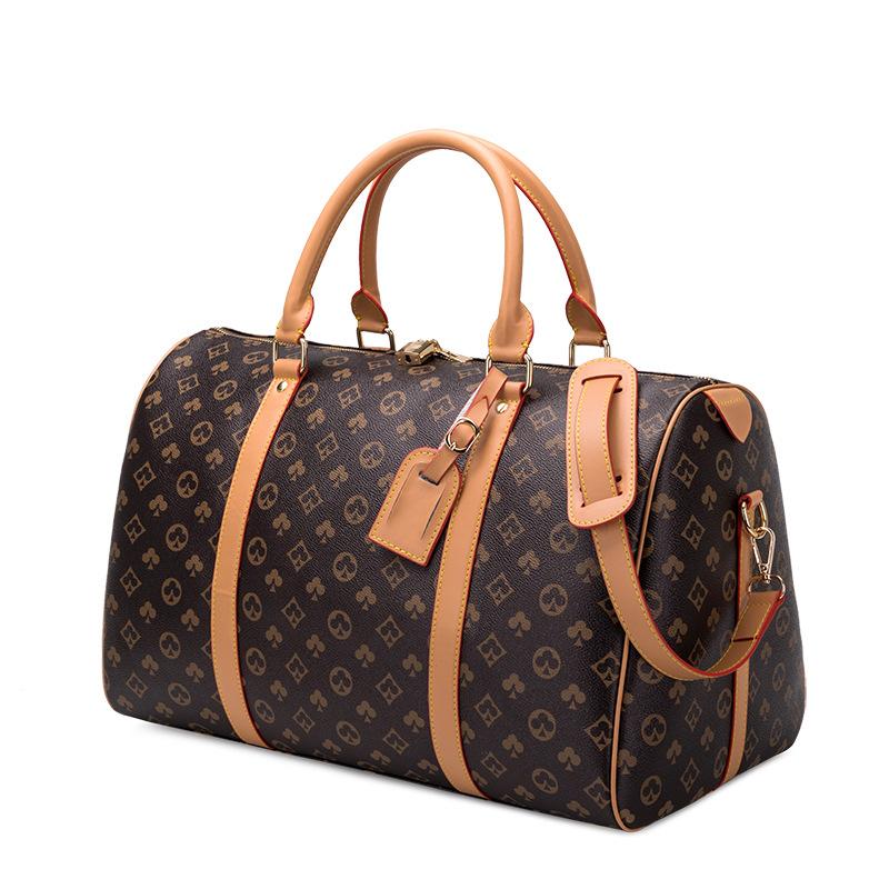 Carry-on bag unisex large capacity short haul travel trolley luggage luxury shoulder bag diagonal printed pillow bag