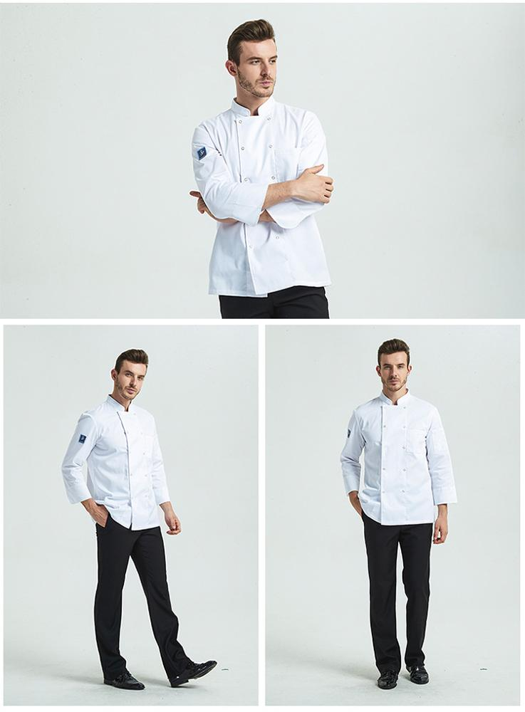 Thick white red chef -uniform long sleeve hotel restaurant uniforme chef de cuisine in autumn and winter