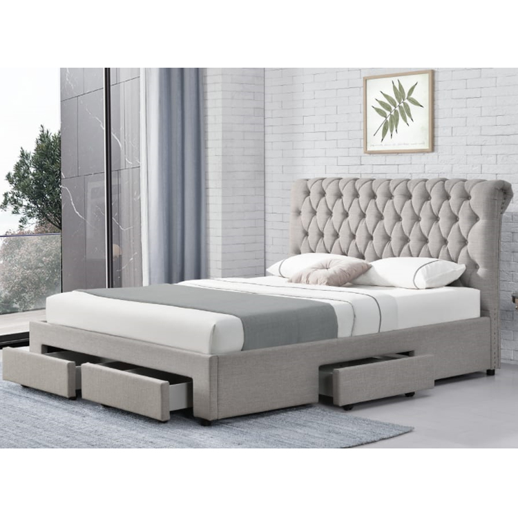 new style design Linen Fabric bed frame for room furniture with 4 storage drawers