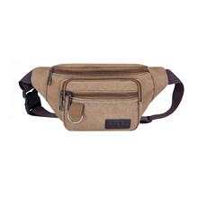 Холщовая поясная сумка для женщин и мужчин с несколькими карманами на молнии поясная сумка спортивная нагрудная сумка винтажные сумки чере...(Китай)
