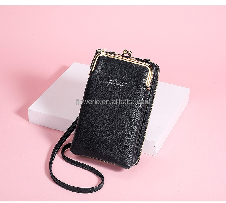 Wholesale high quality luxury large capacity mobile phone women messenger wallet mobile phone bag