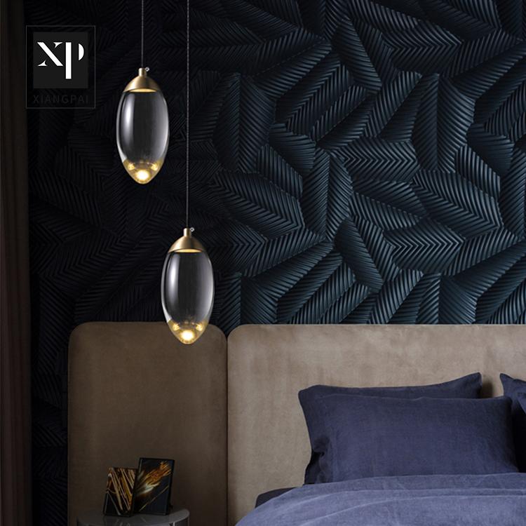 Постмодерн, сдержанный дизайн, кровать для спальни, хрустальный шар, латунные потолочные светодиодные люстры