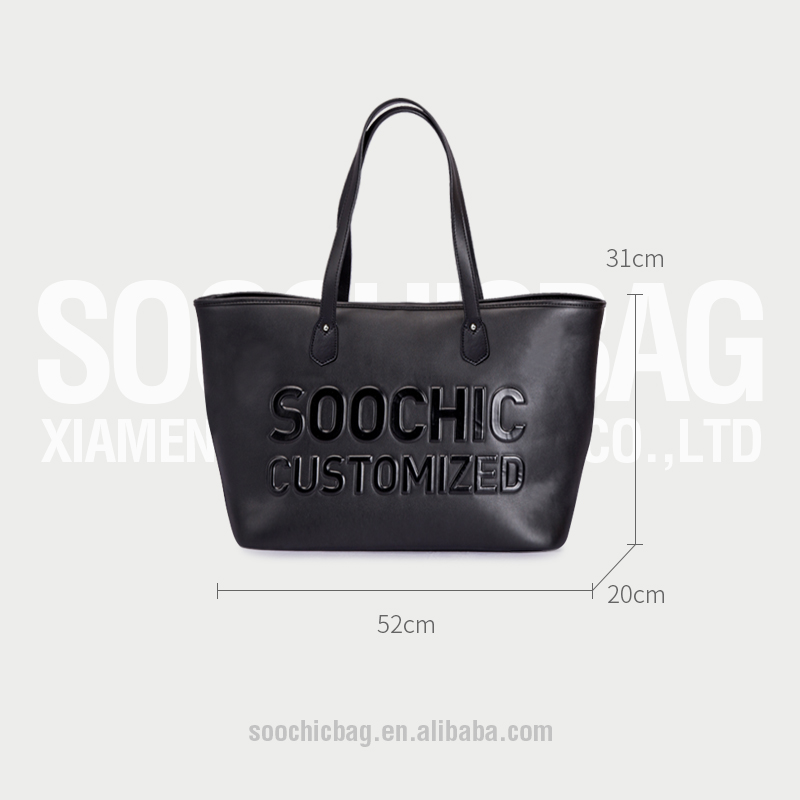 Custom high quality black tote hand bags,PU leather tote bags for women,raise logo tote leather bags