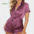 MGOO Custom Button Front Satin Short Sleeve Sexy Women Adult Rompers Onesies Pajama