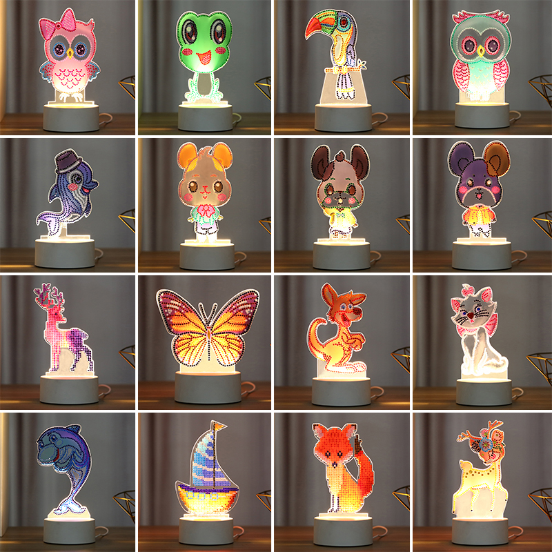 Wholesale 5d Cartoon Cute Animals Diy 5 Led Drawing Diamond Dot Painting Lamps Beads Light Pad Kit For Kids Buy Wholesale Cartoon Cute Animals Diamond Dot Paintings Led Lamps 5d Diy Diamond