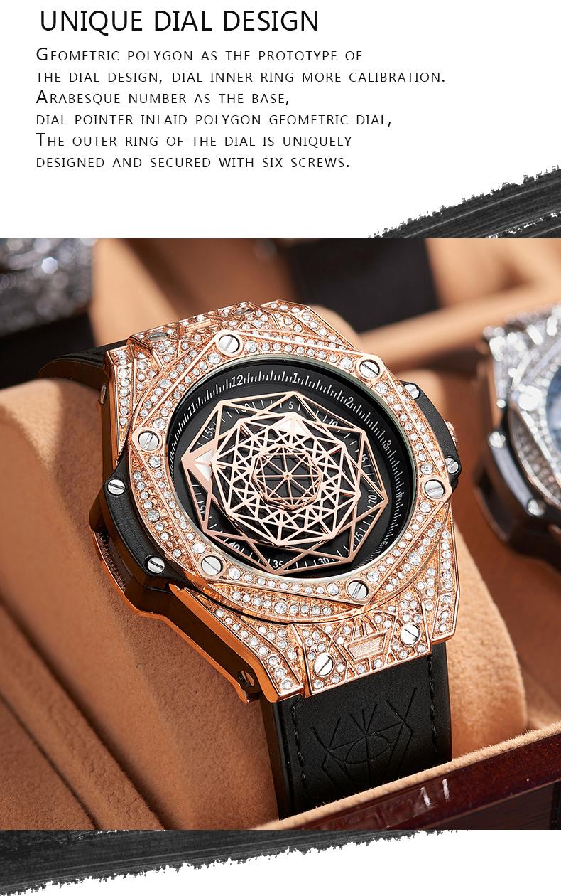 ONOLA 3815 Watches Men Wrist Brand Rose Timepiece Quartz Waterproof Luminous Diamond Hand Watch