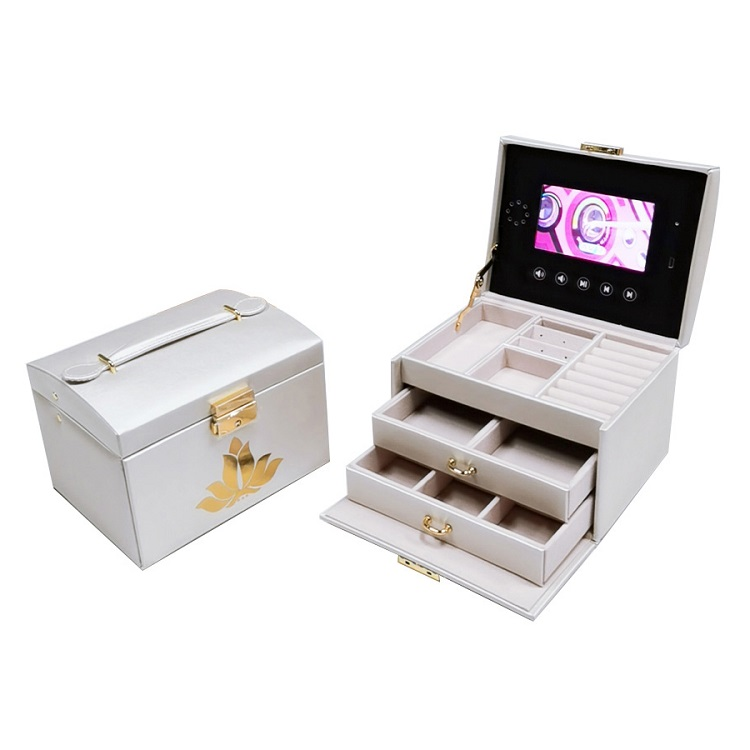 a video box made of leather bracelet lcd box jewelry box lcd