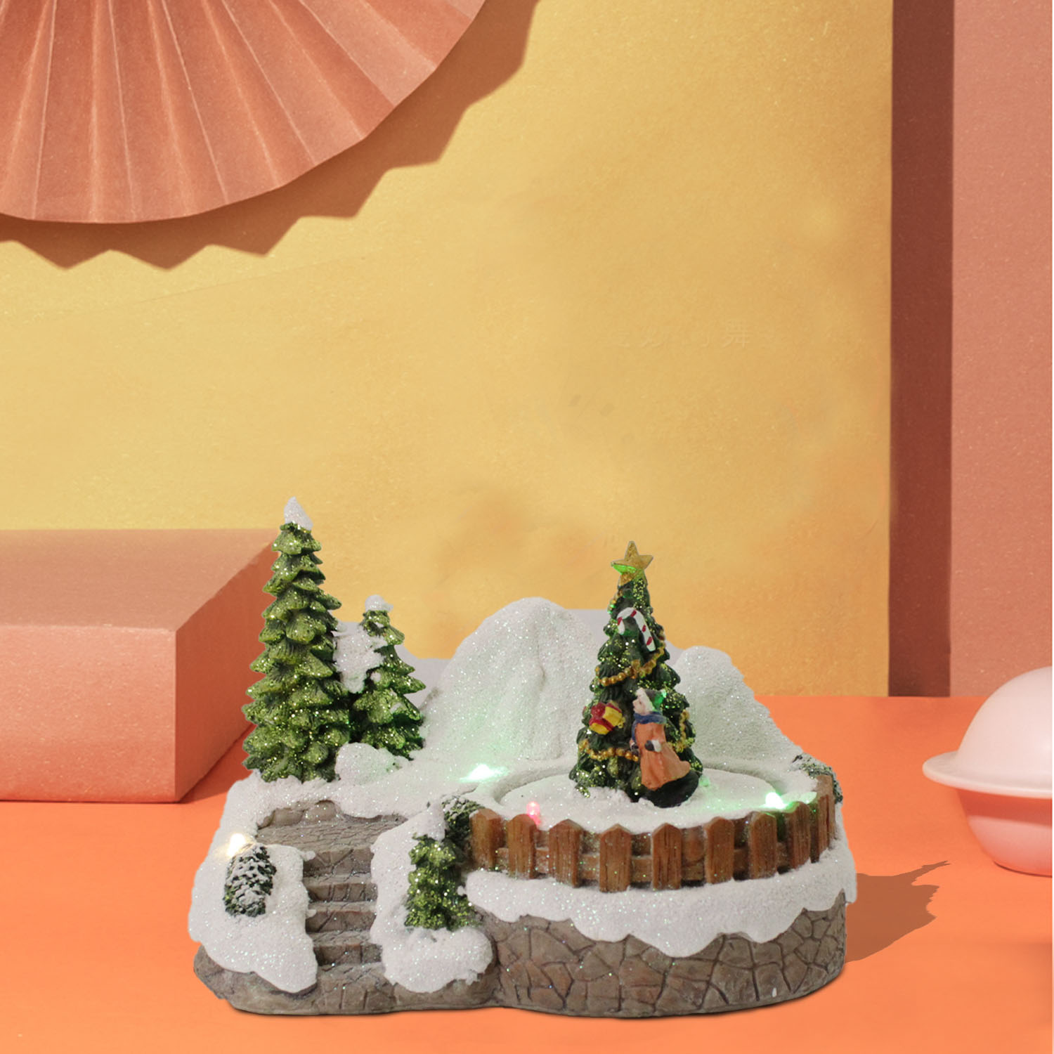Christmas Village House Resin Ornament with Led Light for Christmas Home Decorations
