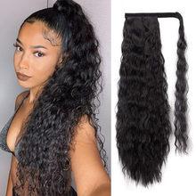 Волнистые кудрявые волосы на клипсах, накладные волосы на конском хвосте, синтетический натуральный парик, 24 дюйма, человеческие волосы на ...(Китай)