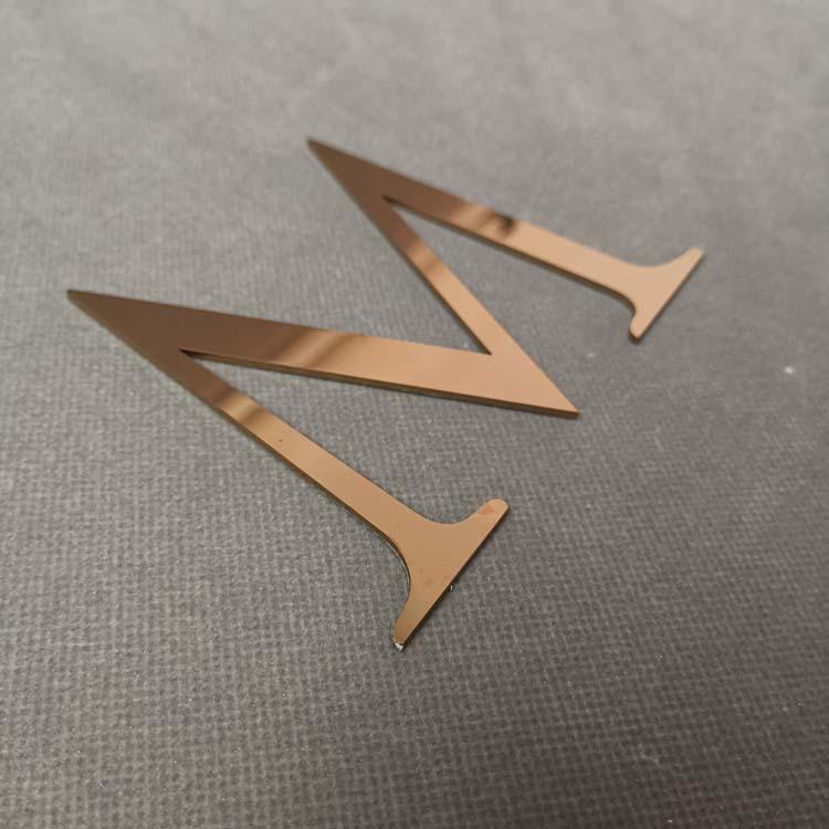 manufacturer custom brass brushed rose gold solid metal letter signage