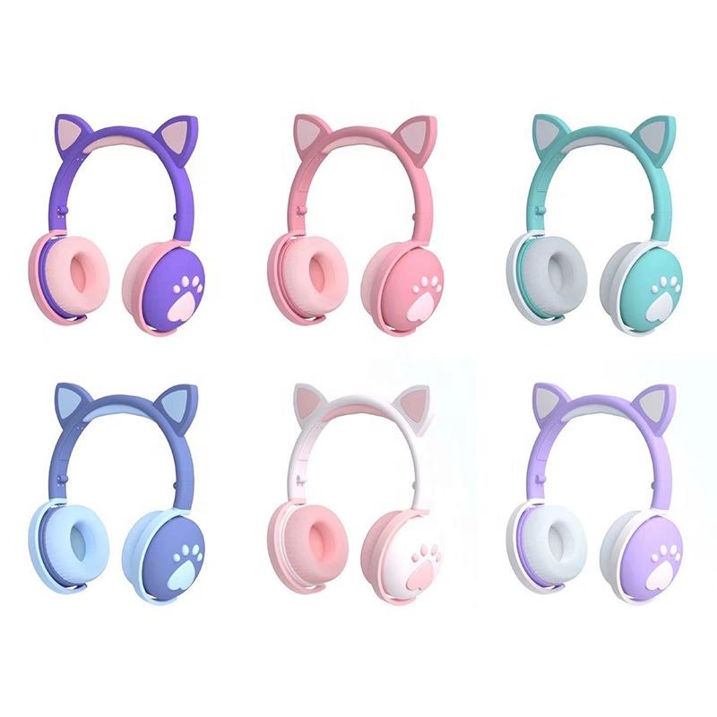 Из завода, дешевая цена, 2021 светодиодный беспроводной силуэта кошачьей головы гарнитура наушники Манос Libres ушной раковины, аудиофоны, одежда для девочек с принтом для мобильного телефона