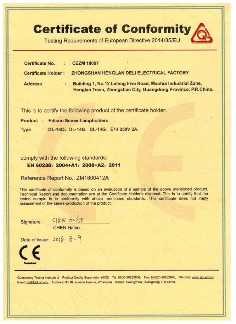 CE certificate of E14 Edison Screw Lampholders from our supplier