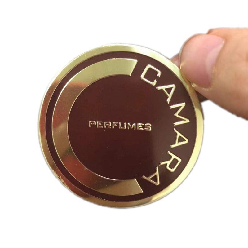 Embossed metal label custom logo design for perfume bottle embossed metal logo perfume labels