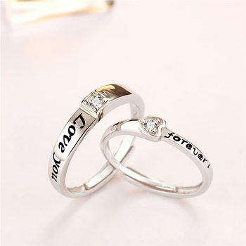 Tonglin Bijoux Love Fashion Jewelry Sterling Silver 925 Heart Silver Adjustable Unique Couple Ring Women