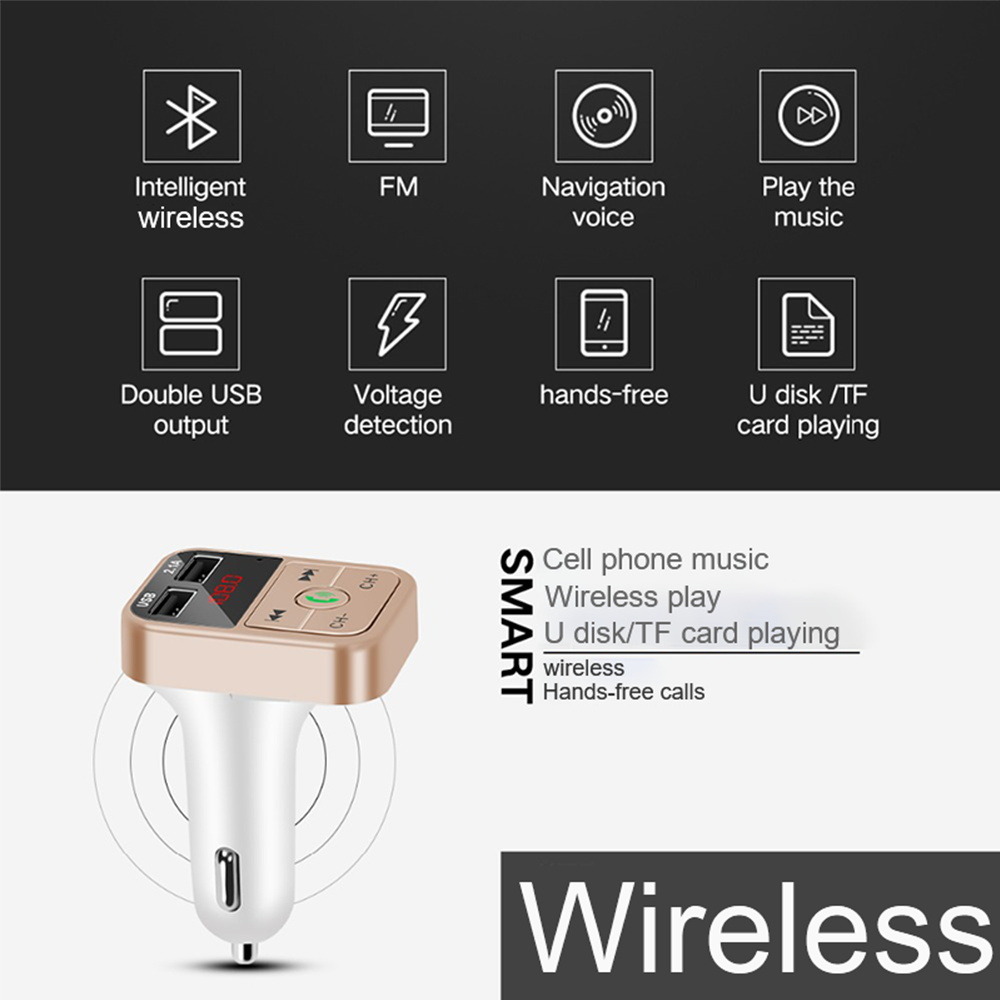 Eonline Car Kit Handsfree Wireless FM Transmitter LCD MP3 Player USB Charger 5V 2.1A Car Accessories Handsfree