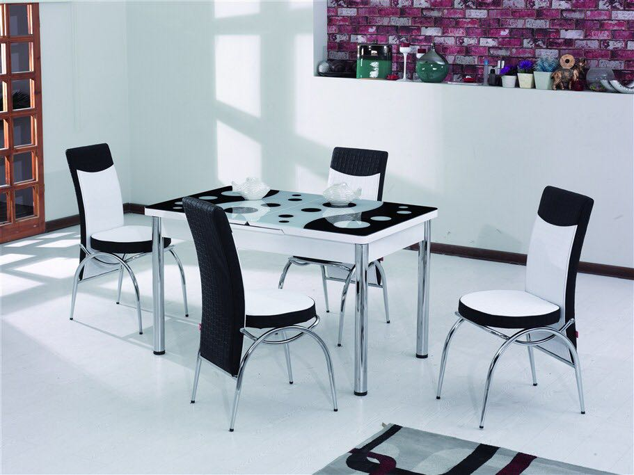 Dining set extended table 6 chairs glass table multi colors hot sales