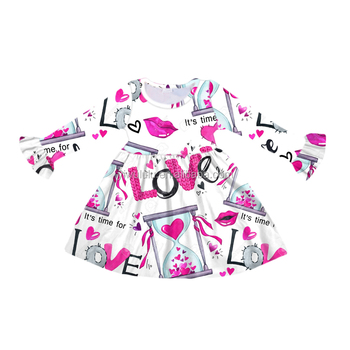 Wholesale Children Dress Baby Girl Frock Cutting Pictures Heart Printing Girls Dress For Valentine's Day