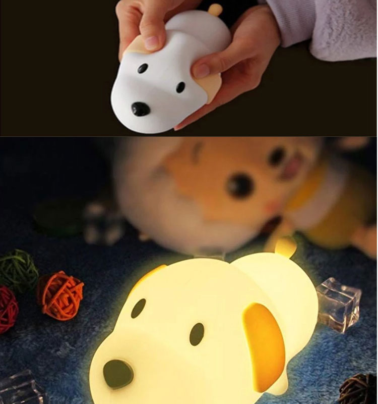 Creative doggy pattern silicone night lights for children change color touch switch animal lamp anime lamps led night light