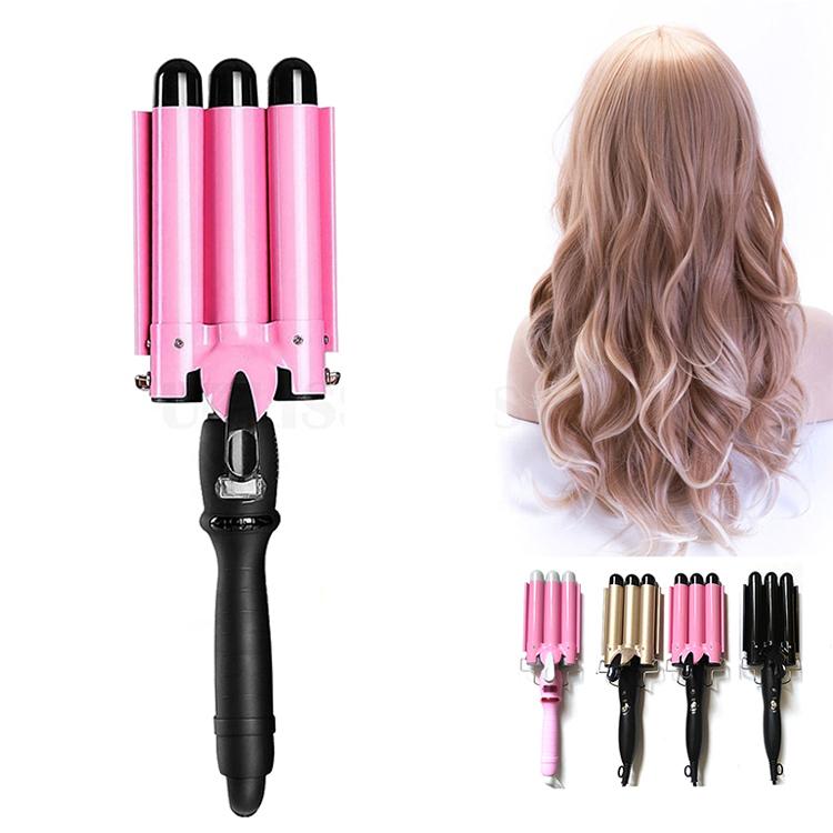 Щипцы для завивки волос, керамическая плойка с тремя цилиндрическими элементами, с ЖК-дисплеем, для домашнего использования