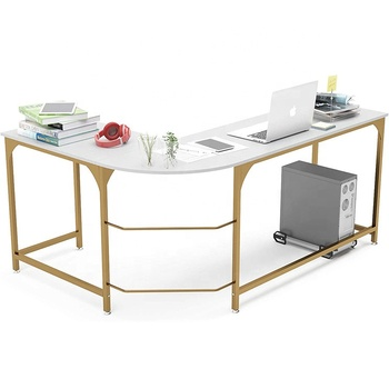 Modern White L-Shaped Desk Corner Gaming Computer Desk Office Workstation Modern Home Study Writing Wooden Table