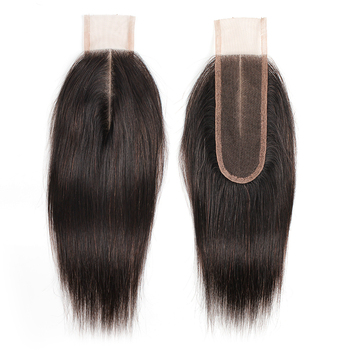Human Hair Closure 2*6 lace Straight Remy Brazilian Natural Color Middle Part for Black Woman