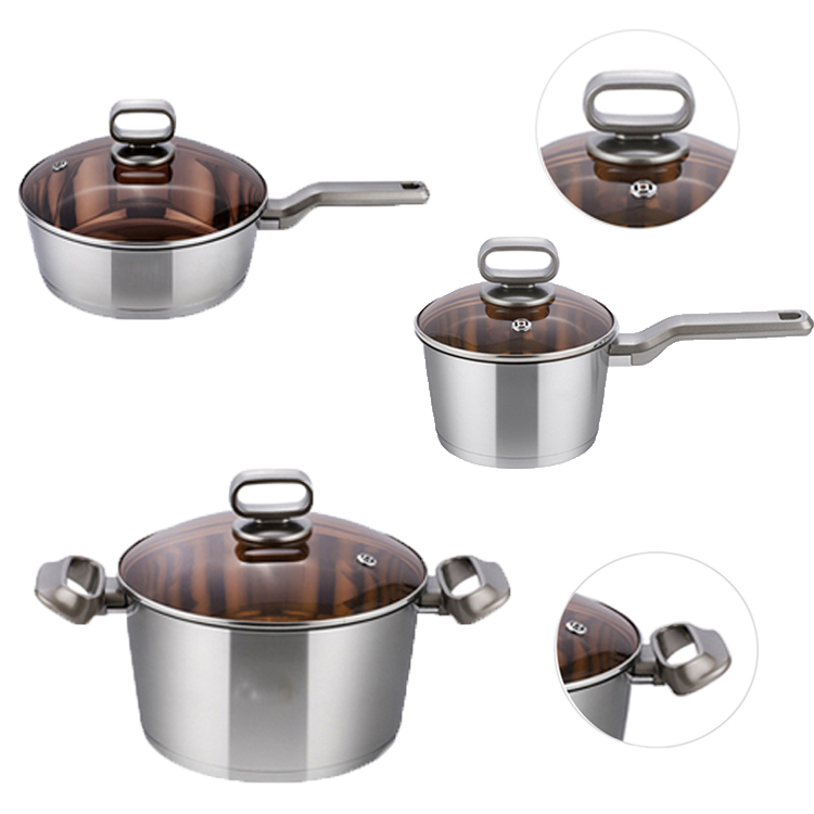 Pandachef Tea Color Stainless Steel Sauce Pan Casserole Fry Pan With Glass Lid Cookware Set Buy Stainless Steel Cookware Set Tea Color Kitchen Cooking Pots Kitchen Pots And Pans With Glass Lid Product