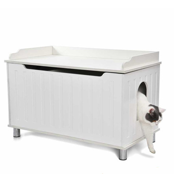 Petstar Multifunctional Modern Large Wooden Cat Litter Box Enclosure Cabinet Cat Washroom Storage Bench Cat Furniture