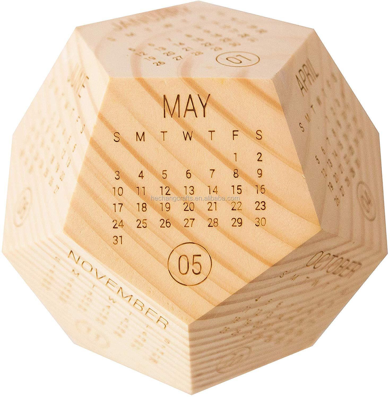 Календарь для стола из массива дерева 2021