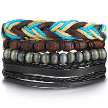 Винтажный Набор браслетов с подвесками, 17 км, мужские и женские модные наручные браслеты, кожаный браслет с совой листом, 2019(Китай)