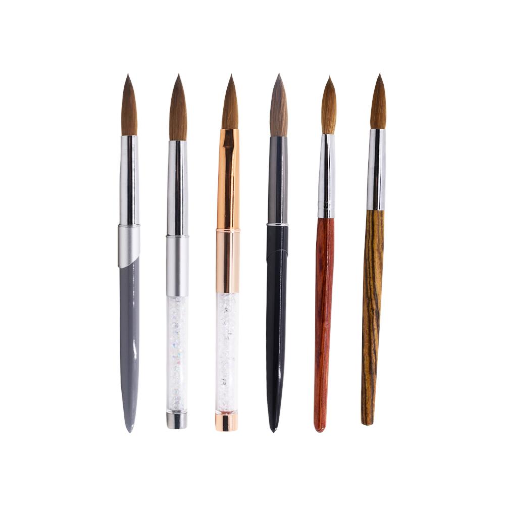 Индивидуальная фирменная толстая кисть Kolinsky 100% для гель-лака, набор кистей для нейл-арта, деревянная акриловая кисть для ногтей для дизайна ногтей