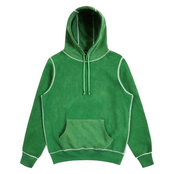 Custom 100% cotton mens brushed back reverse fleece hoodies with contrast stitch men embroidered hoodie pullover