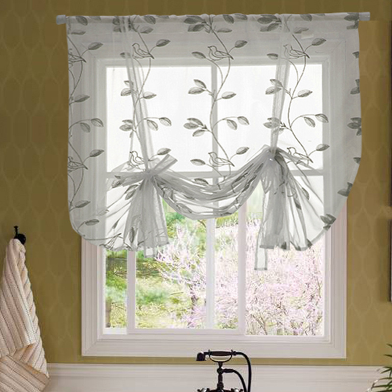 LATAM supplier wholesale polyester fabric Embroidered bird pattern Window Sheer Curtains for KitchenBedroom living room