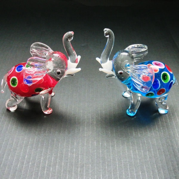 Lampwork glass elephants family murano glass home decor souvenir elephant figurines
