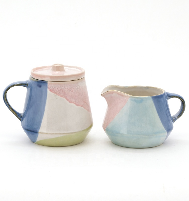 Customized ceramic sugar creamer set with handpainting for gift sets