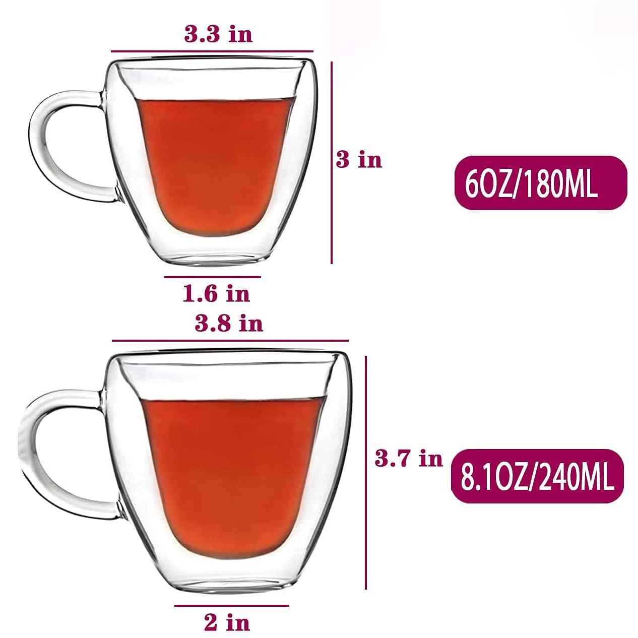 Creative Clear Glasses Mug Gift Tea Beer Transparent Love Coffee Cup Double Wall Heart Shaped Glass Mug