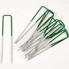 Half Green Grass sod Staples Turf Peg Metal U Pins Artificial Galvanised Weed garden staple