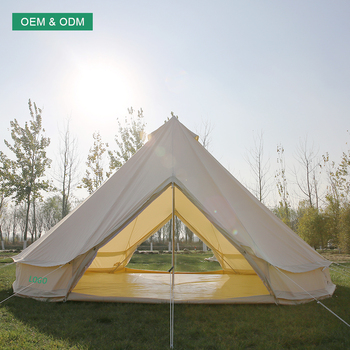 Camping tents dia 3m 4m 5m 6m 7m Double Door double wall bell tent cotton canvas tent