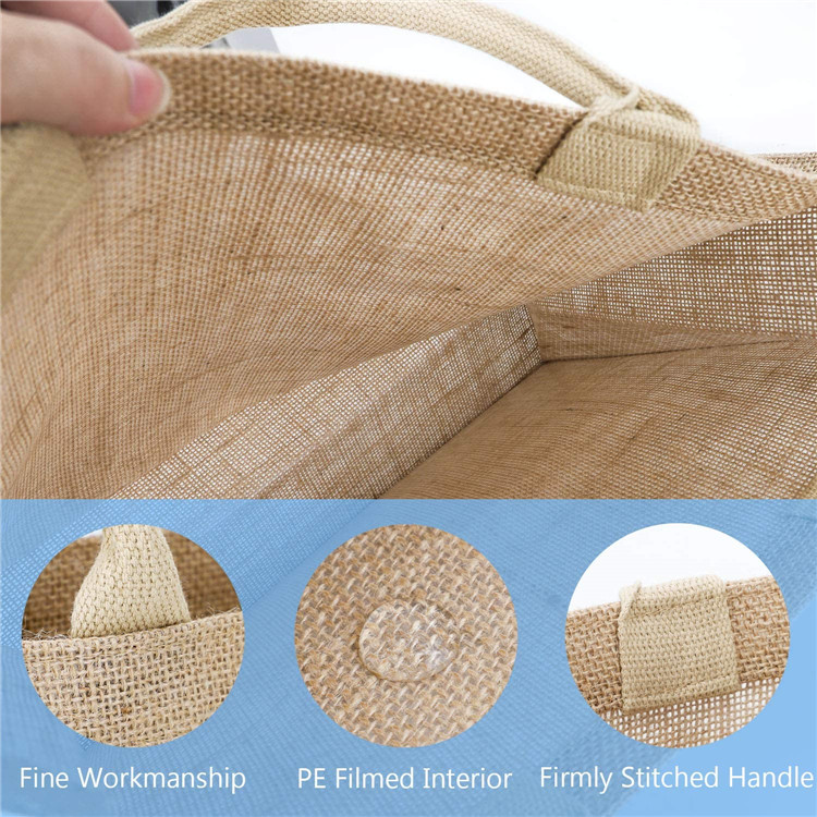 Texupday Cheap Custom Logo Printed Eco Recycle Natural Foldable Reusable Jute Burlap Linen Shopping Tote Bag