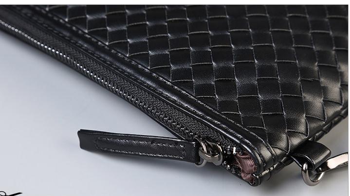 custom black woven pu leather brief case bag for documents hand purse men purse