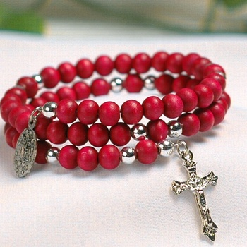 Christian perfumed red wood beads double wrapped bracelets