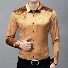 Мужская Вельветовая рубашка, красная Повседневная приталенная рубашка с длинным рукавом, с цветочным принтом, на свадьбу, вечеринку, 4XL, 2020(China)