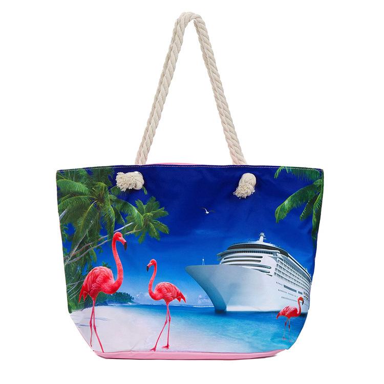 Rpet tote bag Beach tote bag Custom rpet fabric printing High quality Large Capacity shopping tote beach bag
